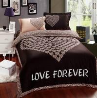 Pink/Brown Leopard print bedding sets queen king size 4pcs doona duvet/comforter cover bed sheet bedclothes cotton home textile