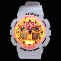 Retail Branded Digital Watch for Men With Stopwatch / GA100 LED Wristwatches / High Quality Silicone Sports Hours LED018
