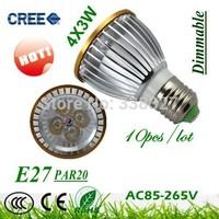 HOT 10X  High Quality  LED Light  PAR 20 12W 4X3W Spotlight E27(110V 220V )Cool White Warm White PAR20 Free Shipping