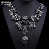 costume jewelry clear crystal choker necklace stainless steel skull pendant skull choker necklace skeleton head necklace 2014