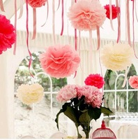 "Free Shippping 15pcs/Lot 6"" Tissue Paper Pom Poms Paper Flowers Wedding Ball"
