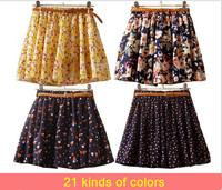 2014 Summer Women Lady Pleated Floral Chiffon Cute Mini  Skirt  Gift  Belt