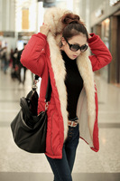 Женские пуховики, Куртки 2013 new autumn and winter in Europe and America Slim large size thicken women's cotton knit sleeve hooded jacket fur coat