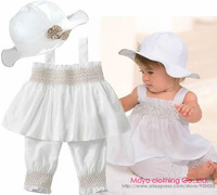 Free Shipping 3pcs Baby Girl Kids Infant Newborn Toddler Princess Ruffle Top+Pants+Hat Set Outfit Set Suit Clothes Costume 0-24M