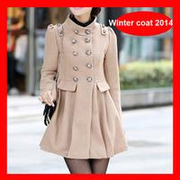 2014 Winter Hot Selling Double Breasted Wool Jacket , Elegant Slim Winter Overcoat 3 Colors 1004