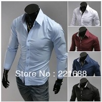 Free shipping 2013 new men's shirts-small cell hit color fashion high quality solid color long-sleeved shirt