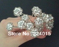 Free Shipping  ! 20 pcs/ 11mm Seven Crystal Rhinestone /Drill Hair Pin Clips Women Hair Wedding Jewelry