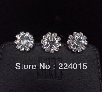 Free Shipping  ! 20pcs/13mm Clear Crystal Rhinestone Hair Pin Clips Women Hair Wedding Jewelry