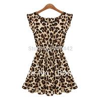 Big Discount! European Style Women Summer Fly Sleeve O-neck Slim Waist Animal Leopard Pleated Milk Silk Dress Vestidos 17536