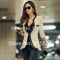 2014 New Fashion women coat  women jacket women jackets women clothes Long Sleeve V-Neck one button casual slim outerwear OL