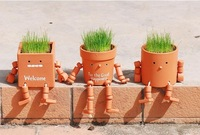 Mini Robot Dolls Cool Hairstyle Potted mini plant grass handicraft furnishing articles Factory direct sale