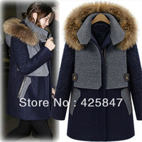 2013 New Style Fashion Women's Raccoon Fur Collar Hooded Cashmere Coat Female In The Long Section Thick Woolen Winter Coat
