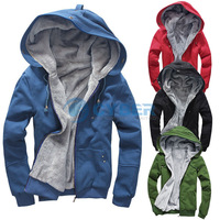 New Men's Plush Thick Warm Hoodie Overcoat Winter Coat Fleece & Men's Cotton Padded Jacket Men Jacket  6colors 4sizes B2 17015