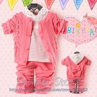 3sets/lot Little Princess Suit Shirt +Jacket+ Pants Children Autumn Clothes,Three piecees suit, Hot Free Shipping