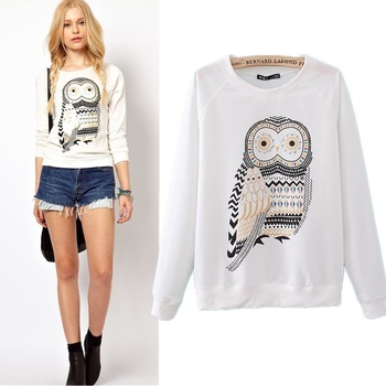 2014 New Casual Cute Sport Running White Owl Animal Print Beading Sportswear Hoodies Sweatshirt Pullover for Women High Quality