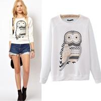 2014 New Casual Cute Sport Running White Owl Animal Print Beading Sportswear Hoodies Sweatshirt Pullover for Women High Quality