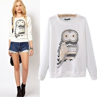 Spring 2014 New Casual Cute White Owl Animal Print Beading Hoodies Pullover for Women Sale Wholesale High Quality