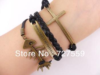 (Min Order $7) Charms Bangle Infinity Bronze Karma Fish Bone & Cross Rope Girl Leather Bracelet Gift Cuff Wrist Women Jewelry