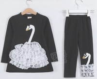 New Children Clothes sets Swan Decor Long Sleeve T shirt 2 Pcs One Set + Long Pants Children Kids Girls' Suit Free Shipping