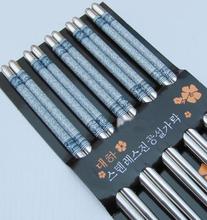Nuevo 5 pares elegante estampado de flores inoxidable palillos de acero para el hogar restaurante(China (Mainland))