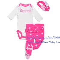 Brand Carter's Baby girl's cotton newborn 3-piece pink long sleeve bodysuit & dot pant set
