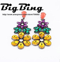 BigBing Fashion fashion jewelry luxury vintage jungle crystal flower earrings  Free shipping N616