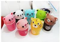 Cartoon animal Plastic mini table dustbin/Sundries barrel  /Storage tank/cartoon animal desktop trash