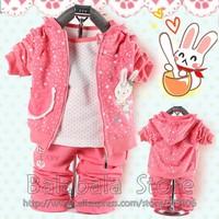Free shipping hot fashion Girl's Autumn 3set/lot  Long Sleeve Suit Coat + Hooded Shirt +Pants Baby Clothing