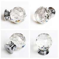 8pcs 40mm transparent glass dresser knobs and handles