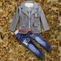 Hot Seller Kids Autumn Clothing Suit 3 Pcs Cotton Boys T Shirt And Handsome Jacket And Jeans For Children Christmas