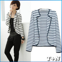 New 2013 Winter Jacket Women, Fashion Stripe Casual Dress, Blazer Plus Size LeatherJackets For Women