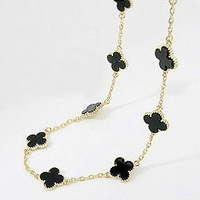 New Fashion Lovely black small flowers gold&silver long chain women chains necklaces Free shipping