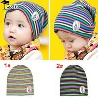 Caps Free shipping(10PC/LOT) new fashion kids caps pure cotton rainbow stripe children sleeve  baby hats MZ1301-10