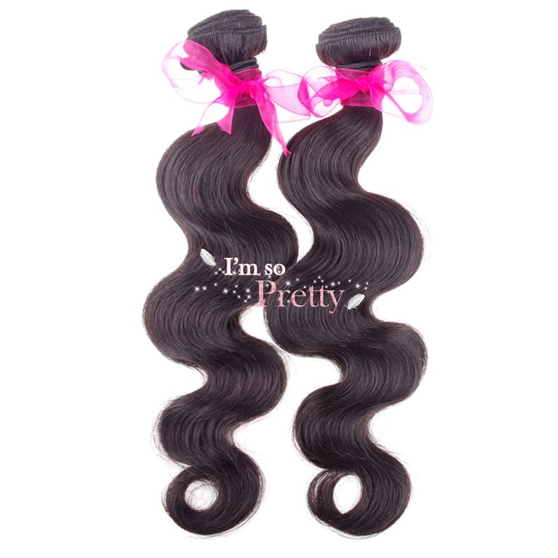 100% Human Brazilian Virgin Hair Products Human Hair Extension Body Wave 2Pcs/Lot Natural Color# 1B# I'm so pretty hair shop(China (Mainland))