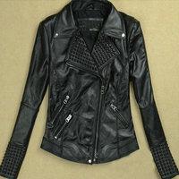 New Women Leather Jackets Fashion Female Rivet Winter Motorcycle Brand Coat Outwear Drop Shipping