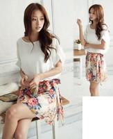 Women's Charming Summer Crewneck Chiffon Short Sleeve Floral Print Casual Dress 14510
