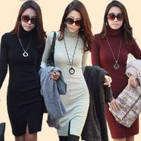 Free Shipping 2014 Autumn Winter Dress New Fashion 3Colors Size S-XL Slim Fit Long Sleeve Turtleneck Split Dresses 559501