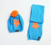 Fahion Star Style Knitted caps Boy girl Winter baby hat Toddler Children warm hats Cute kids cap Hat+scarf Free shipping RA05M22