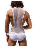 Free Shipping 2013 New  Mens Leotard Perspective Gauze Transparent Sexy Tights Jumpsuit Sport Bodywear Unitards Costume M-XL