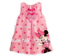 2014 new arrival Girl's dresses , Girls Diseny minnie  fashion sleeveless pink dot dress .  Wholesale 5pcs/lot.