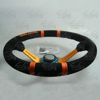 MOFE Racing SPECIAL OFFER HOT SALE Universal 350mm Suede Leather Deep Corn Dish Steering Wheel With Original Logo & Pack