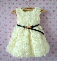 Girl Dresses Beige Pink Rose Flower Dresses Belted 100% Cotton Children Sleeveless Clothing 2014 Girls Dress With Rose On Sale