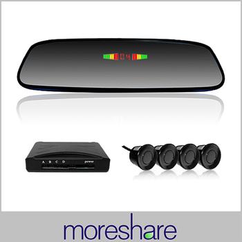 Car Clip-on Rearview Mirror Parking Sensors Reverse Backup Radar System with 4 Sensors Parking Assist System Reverse Detector