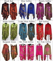 9 COLOURS New  Women's Reversible Two-Face Silk Pashmina Shawl Scarf Butterfly Free Shiping RL090