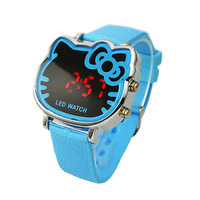 Hot New Products Fashion Hello Kitty Watch LED Digital Blue Watch For Children/Women Free Shipping