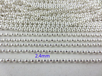 Hot Wholesale 2.4mm Silver 18 K Gold Ball Chains 3900 in.(100m) Fashion Women Bead Chains Dog Tag Keychain  Free Shipping