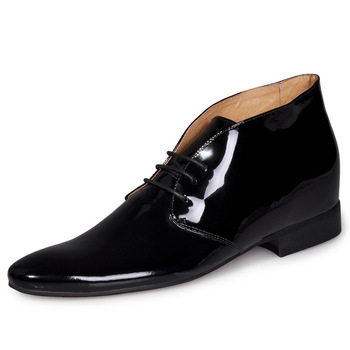6251g Hot Europe Style - Pointed toe black calf leather upper elevator shoes