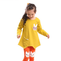 2013 spring autumn fall children clothing cute girls clothes cartoon animal bunny rabbit long sleeve t shirts 3T-10