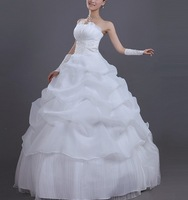 2013 White Sexy Off shoulder flower bride wedding sweet princess Slim wedding dress  fs001