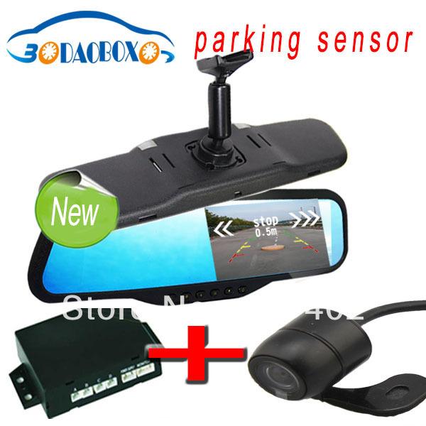 "parking sensor mirror, car parking system, radar detector 4.3"" lcd monitor back up camera with night vision bluetooth(China (Mainland))"
